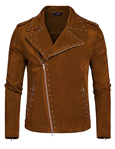 COOFANDY Men's Velvet Rivet Design Punk Rock Motorcycle Biker Jacket Zipper Coat(Brown,S)