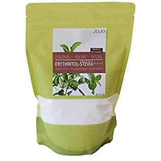 JoJo's Chocolate Erythritol Keto Sweetener | 226 Servings | 0g Net Carbs, Zero Calories, Gluten Free, Paleo Baking Granular Sugar Substitute With Organic Stevia, Non Glycemic and Non GMO | 1 lb Bag