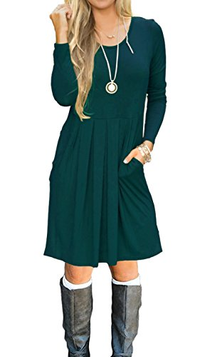 AUSELILY Women's Long Sleeve Pleated Loose Swing Casual Dress With Pockets Knee Length (XL, Dark Green)