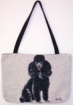 Aplus Marketing Black Poodle Dogs Lined Tapestry Tote ()