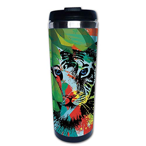 Stainless Steel Insulated Coffee Travel Mug,Bengal Tiger Under Leaves on Lively Colored,Spill Proof Flip Lid Insulated Coffee cup Keeps Hot or Cold 13.6oz(400 ml) Customizable printing