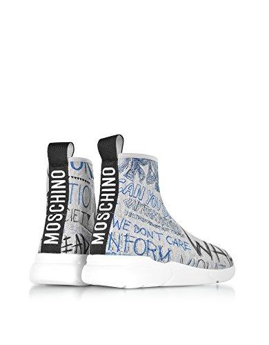 Moschino Damen Ma15524g05m2200b Grau Stoff Hi Top Sneakers