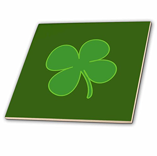 (3dRose Kultjers Fun - Lucky four leaf clover - 12 Inch Ceramic Tile (ct_280158_4))