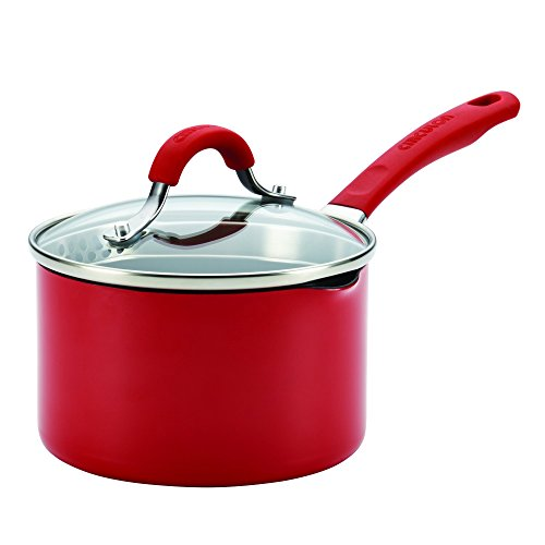 Circulon Innovatum Aluminum 2-Quart Covered Straining Saucepan with Pour Spouts, Red