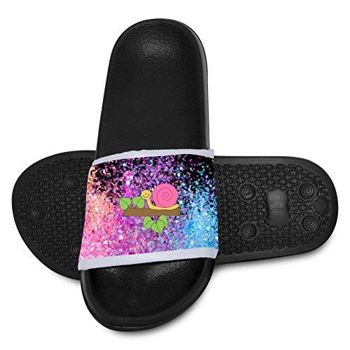 YYFESX Snail Plants Anti-Slip Slippers for Boys Girls, Cute Slide Sandals Kids Outdoor Beach Pool Sandal Soft Bath Slipper Black