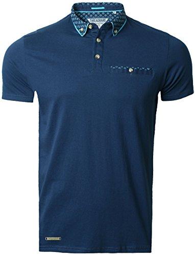Threadbare Herren Polo Shirt Kurzarm Baumwolle Fayette Polo MMT197, Marineblau, Gr.S