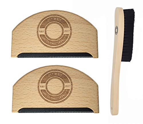 Premium Fabric Sweater Shaver Lint Comb & Free Lint Brush. 3 in 1 Pack. HAT MATE. Pure Wood Eco-Friendly Product. Clothes & Cashmere Shaver Removes Pills, Fuzz & Lint from Garments. ()