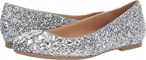 Badgley Mischka Jewel Women's Mathilda Ballet Flat, Silver, 9 M US by Badgley Mischka