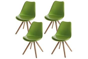 4x Stuhl Grün Kunstleder Esszimmerstuhl Retro Club Sitzschale Stühle