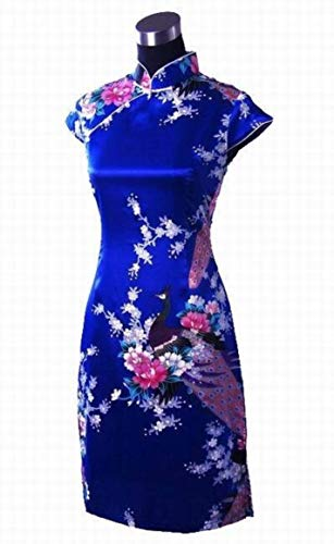 Classic Blue Chinese Female Satin Rayon Traditional Evening Qipao by yubanfifteen (Image #2)