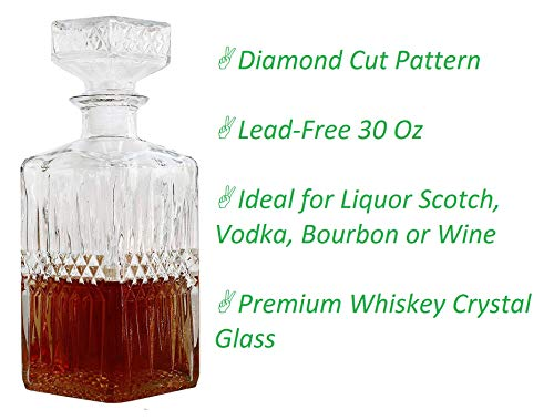 30 Oz Wine Decanter Bottle with Lid, Diamond Clear | Ideal Wine Gift, Wine Accessories ()
