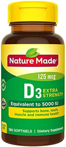 Nature Made Extra Strength Vitamin D3 5000 IU (125 mcg) Softgels, 180 Count for Bone Health† (Packaging May Vary)