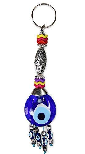 Blue Evil Eye Key Chain for Women for Men, Key Ring, Bad Eye Protection, Religious Charm, Congratulatory Gift, Hamsa, Unisex KeyChain & Rings (Medium, Rio Sleves) (Rio Key)