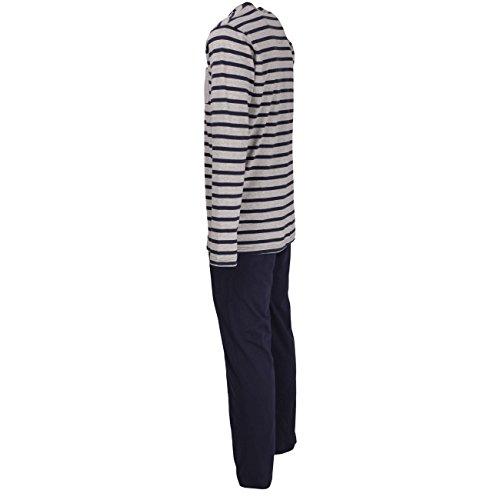 TOM TAILOR Herren Pyjama, langarm, Baumwolle, Jersey, blau, gestreift