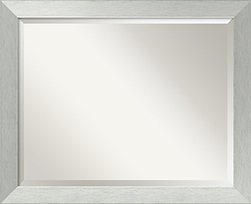 Sterling Silver Rectangular Mirror (Wall Mirror Large, Brushed Sterling Wood: Outer Size 32 x 26