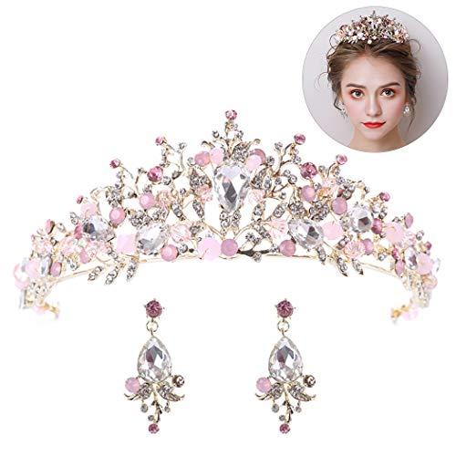Set Boucles Décoratif Pink De D'oreilles Avec Aniwon Mariage Nuptiale Couronne Strass aB4BwAgEn