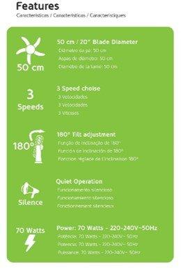 70 W 180 /° Neigung HAEGER Hover Plus ger/äuschlos 3 Geschwindigkeiten Halbindustrieller Bodenventilator