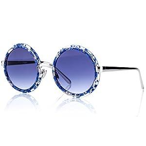 Retro Vintage Round Acetate Silver Metal Frame Blue Gradient Lens Sunglasses