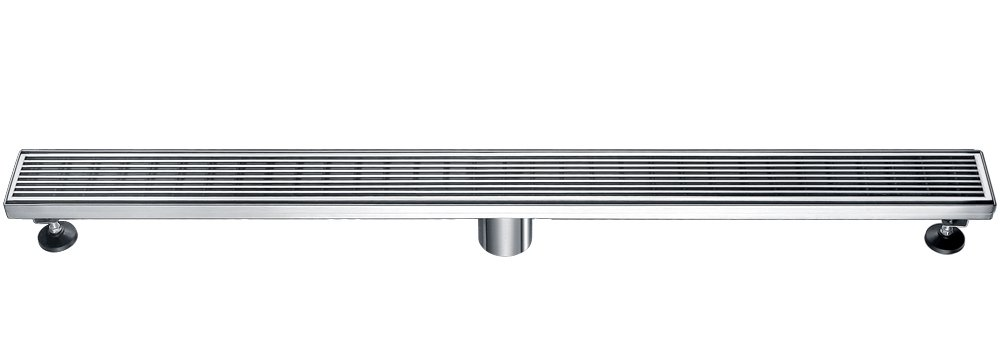 ALFI brand ABLD36D 36 inch Modern Stainless steel Linear Shower Drain with Groove Lines, Silver