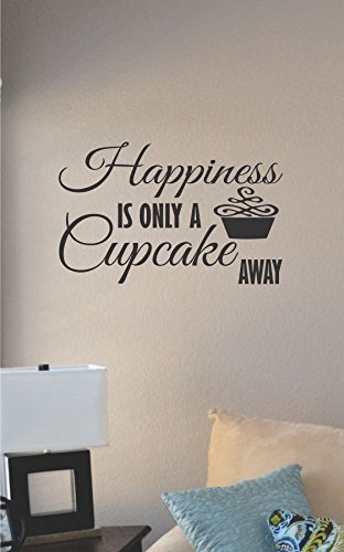 Happiness Is Only a Cupcake Away Vinyl Wall Decal - Stickers Cupcake Wall