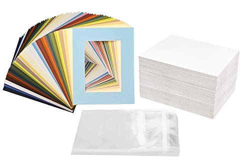 Golden State Art 100 Pcs of 8x10 Picture Mats Mattes Matting for 5x7 Photo + Backing + Bags, Mix Color