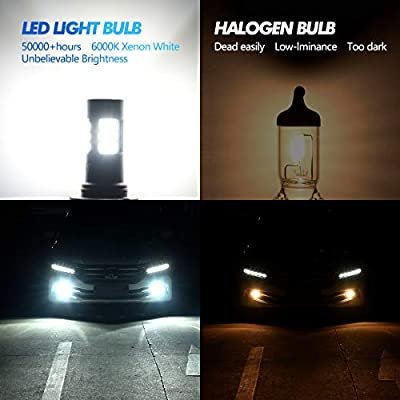 ZonCar H11 LED Fog Lights Bulbs, 6000K Xenon White H8 H9 H16 Extremely Bright 27-SMD Non-polarity Lamp Replacement for Cars, Trucks (Pack of 2): Automotive
