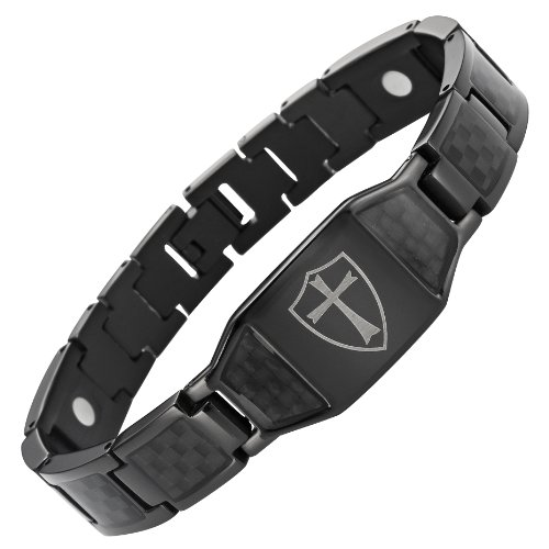 (Willis Judd Men's Black Titanium Magnetic Bracelet Knights Templar Cross Shield Black Carbon Fiber)