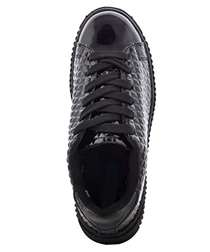 Platform ROBBIN Patent Metallic Pyramid Fashion Shoes CAPE Oxford Black quilted Up Lace Women's Leather Sneakers Patent tdUqUnx8w