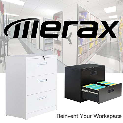 Merax lateral File Cabinet 2 Drawer Locking Filing Cabinet 3 Drawers Metal Organizer with Heavy Duty Hanging File Frame for Legal & Business Files Office Home Storage by Merax (Image #7)