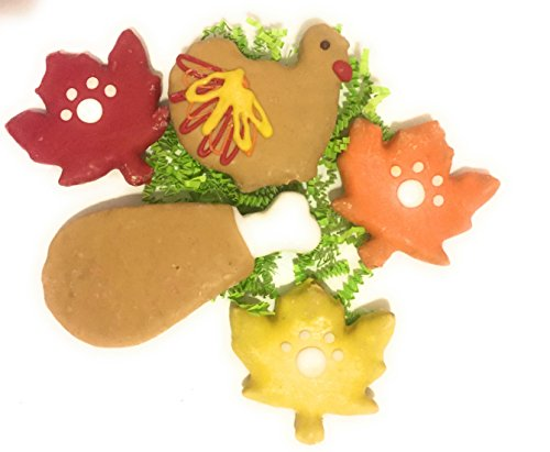 Gourmet Dog Bakery - Woof Bakery Thanksgiving Dog Treats Turkey Feast Gourmet Biscuits with Yogurt Icing: Fall Leaves, Turkey, Turkey Leg (5 Pieces in Gift Bag)