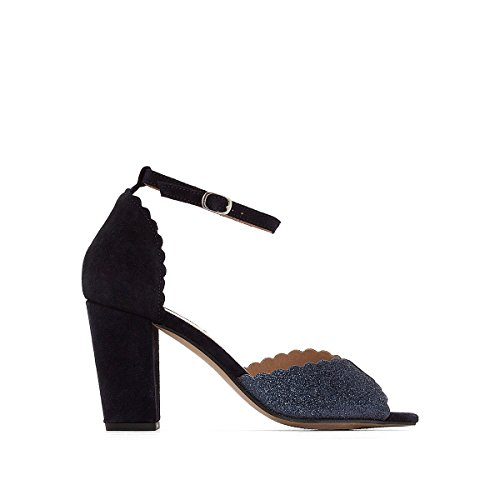 La Redoute Womens High Heeled Leather Sandals with Sparkly Detail Blue