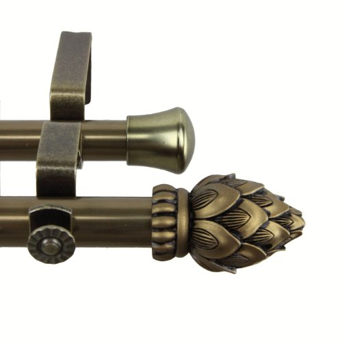 Rod Desyne Bud Double Curtain Rod, 28 by 48-Inch, Antique ()