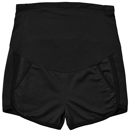 (GINKANA Maternity Shorts Summer Running Workout Relaxed Fit Stretchy Full Panel Short Pants Black)