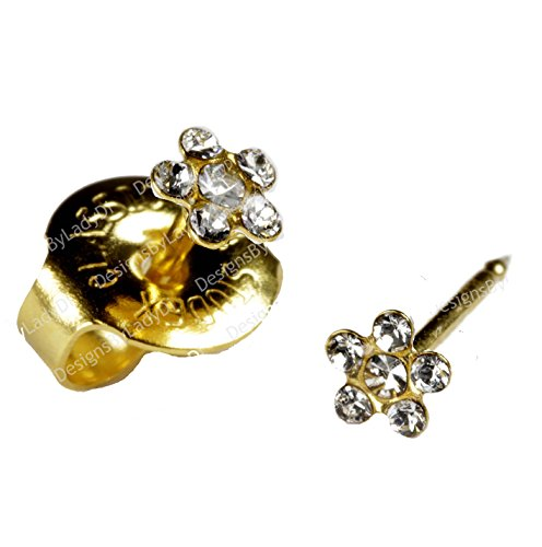 Ear Piercing Earrings SHORT POST Baby Studs Gold Clear Daisy Studex System 75 Hypoallergenic ()