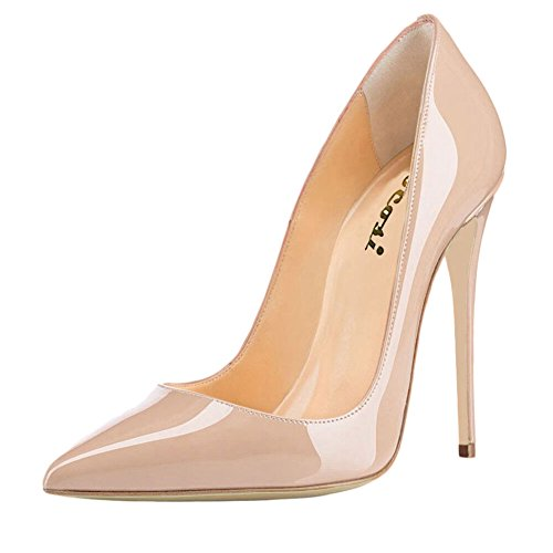 Women Patent Leather Pointed High-heeled Shoes Nude - 3