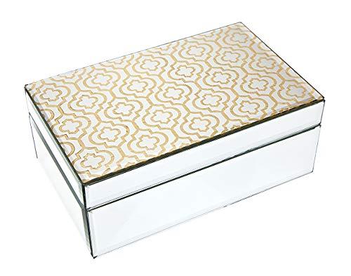 Philip Whitney Trinket Jewelry Box Organizer Mirror with Gold Trellis Design - 8x5