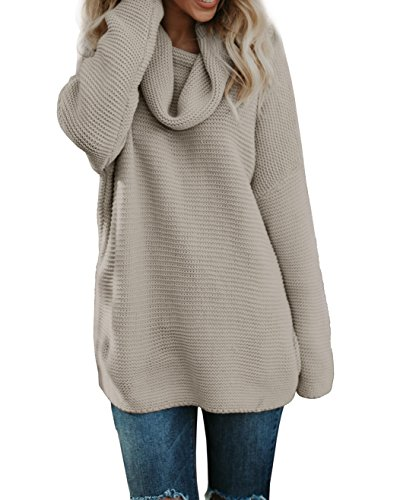 Beautife Womens Oversized Sweaters High Neck Casual Long Sleeve Loose Cable Knit Pullover Tops