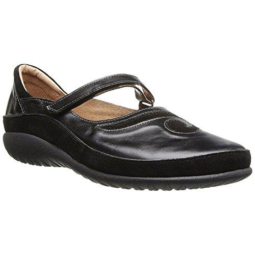Naot Women's Matai Mary Jane Flat,Black Madras Leather/Black Suede,41 M EU / 10 B(M) US