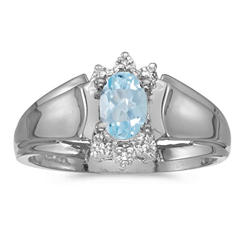 - 0.29 Carat (ctw) 14k White Gold Oval Aquamarine and Diamond Accent Anniversary Fashion Ring (6 x 4 MM) - Size 4.5