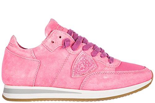 Philippe Model Zapatos Zapatillas de Deporte Mujer EN Ante Nuevo Tropez Rosa