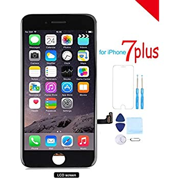 pretty nice 21b51 1a018 Screen Replacement for iPhone 7 Plus (5.5) LCD 3D Touch Screen Digitizer  Display with Free Repair Tool Kits + Free Screen Protector Black