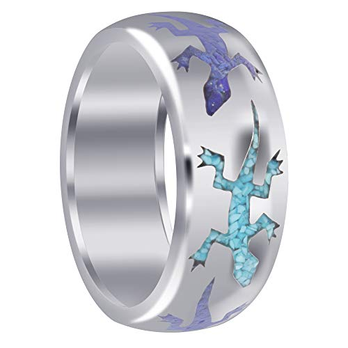 Turquoise Lapis Inlay - Men's 925 Sterling Silver Lizard Turquoise and Lapis Inlay Band