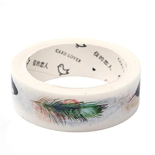 - 15mm7m Beautiful Bird Feather Patterns Washi Tape Scrapbooking Masking Sticker Home Decoration Stationery 12952 by iDONO