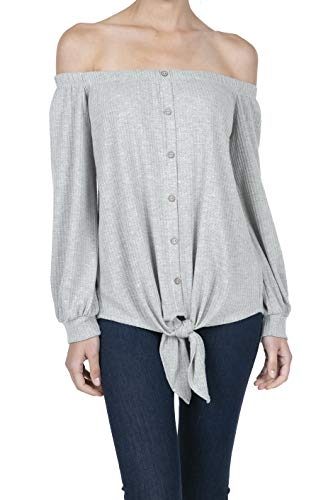 iliad USA 8038 Women's Casual Off Shoulder Button Waffle Tie Knot Top Blouse Shirts H.Grey M (H And M Off The Shoulder Top)