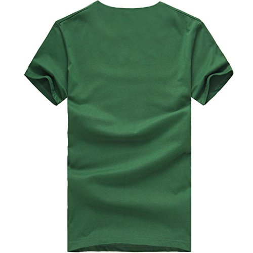 Bluestercool T-Shirt, Hommes Manches Courtes Col Rond Casual Tops Vert