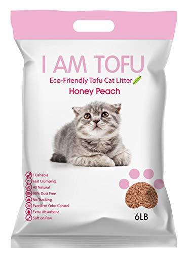 KAMY's ZOO I AM TOFU - Tofu Cat Litter, Natural Flushable Clumping Pellet Litter, Honey Peach Scent, 6lb