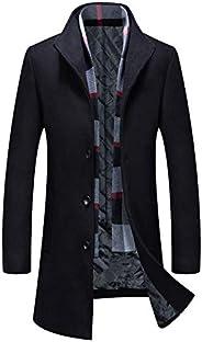 APTRO Men's Wool Coat Winter Fleece Lining Business Jacket Warm Trench Coat with S