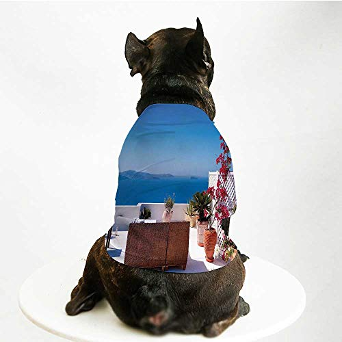 Aegean Costume - YOLIYANA Modern Decor Soft Pet Suit,View of Mediterranean Santorini Aegean Sea Seascape Holiday for Cats and Dogs,L