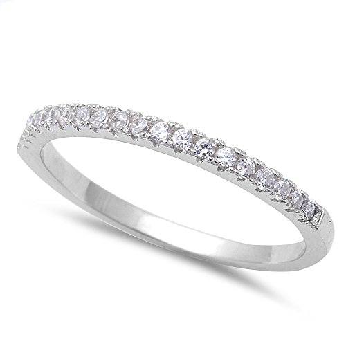 Oxford Diamond Co Micro Pave Cubic Zirconia Band .925 Sterling Silver Ring Sizes 6