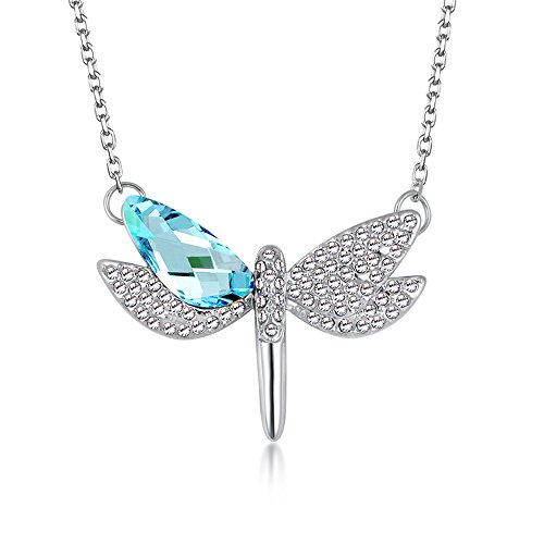 The Starry Night Blue Austrian Crystal Flying Dragonfly Pendant Diamond Accented Silver Lady Necklace